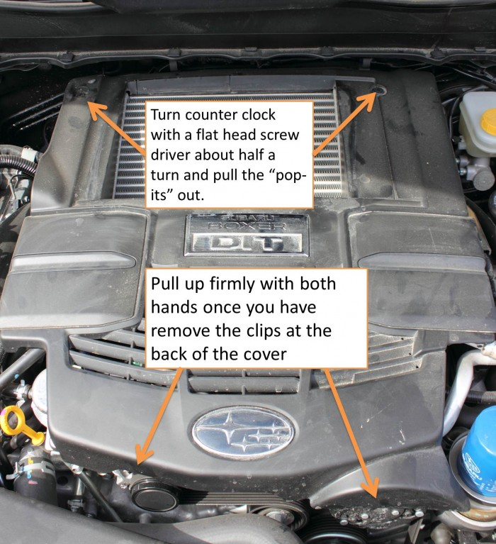How to remove the engine cover on a 2014 Forester XT